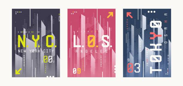 ilustrações de stock, clip art, desenhos animados e ícones de new york, los angeles, tolyo t-shirt abstract geometric futuristic designs, prints, posters. - japanese font