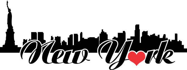New York Love Skyline with heart vector art illustration