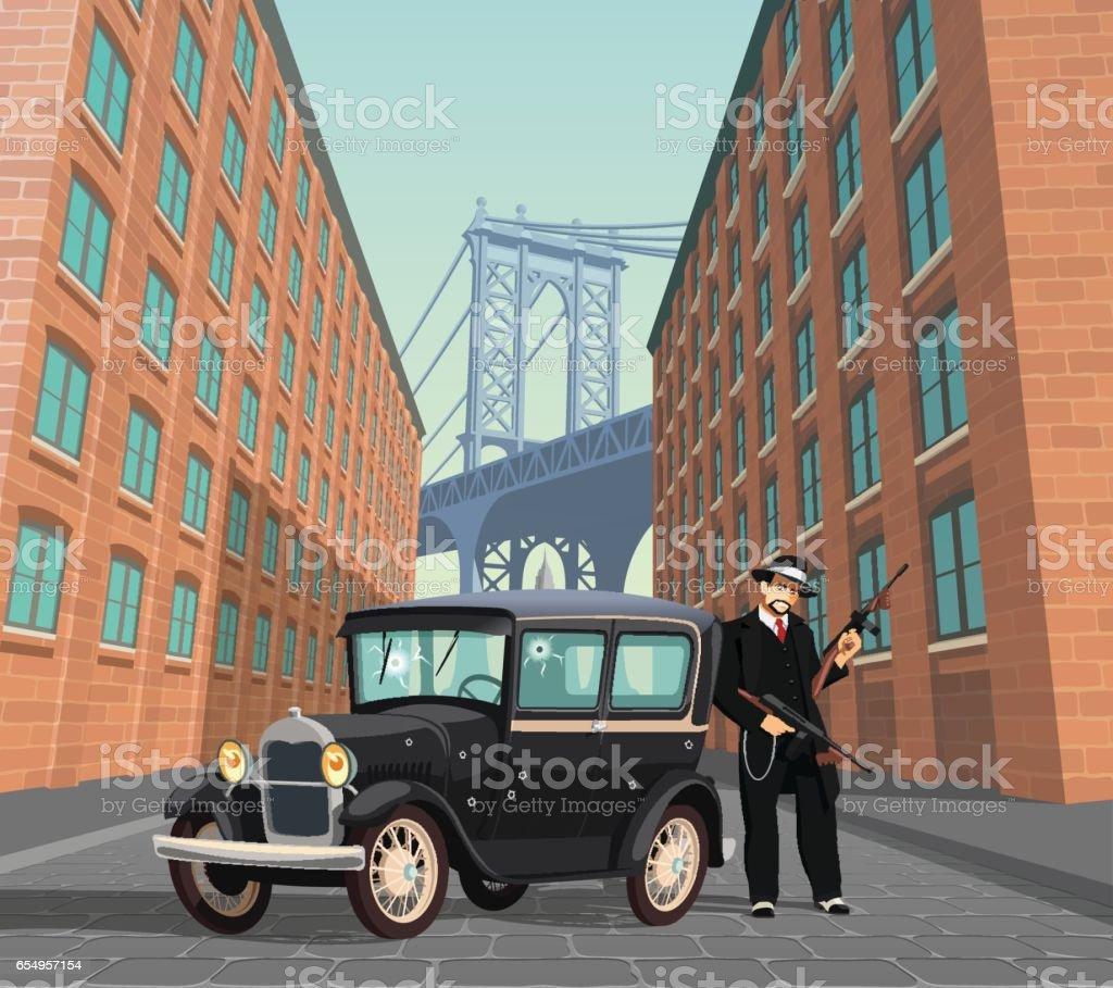 New York Mafia Gangster vector art illustration