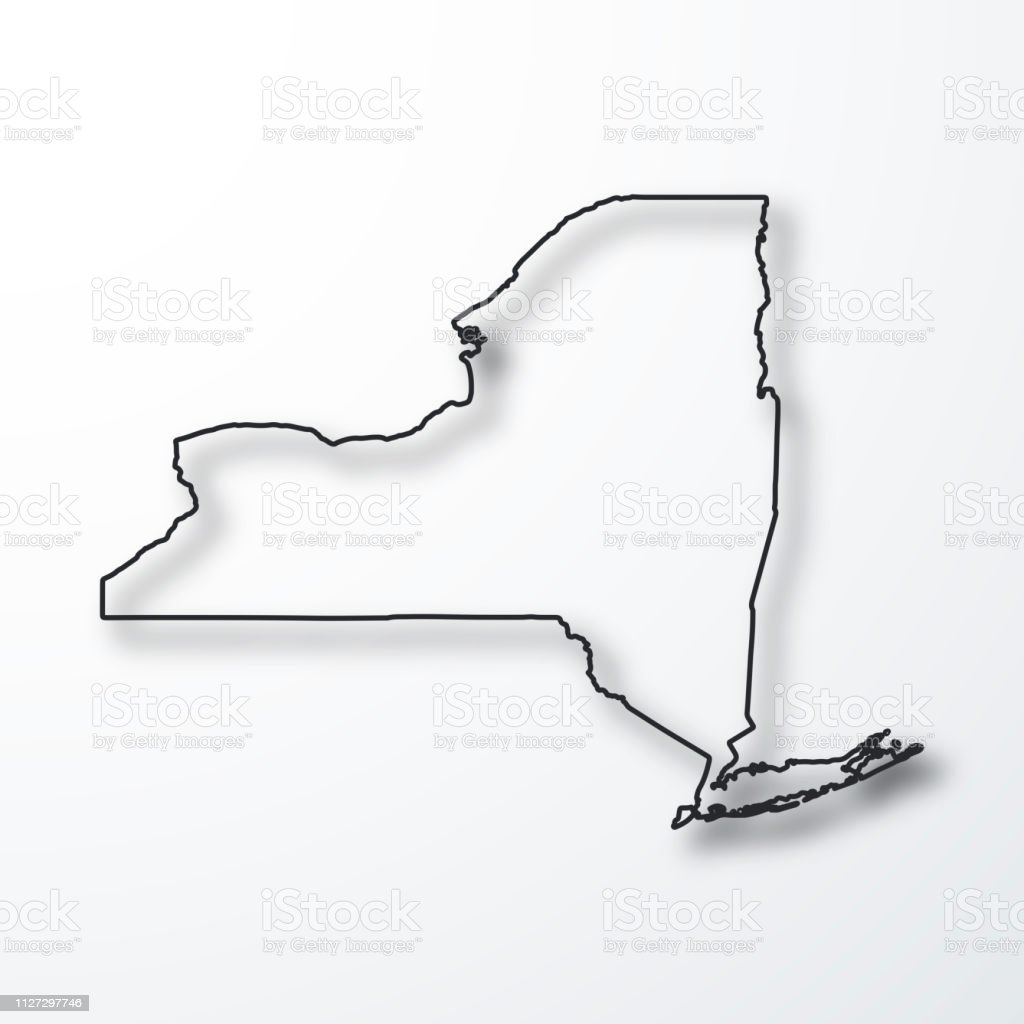 New York Map Black Outline With Shadow On White Background Stock