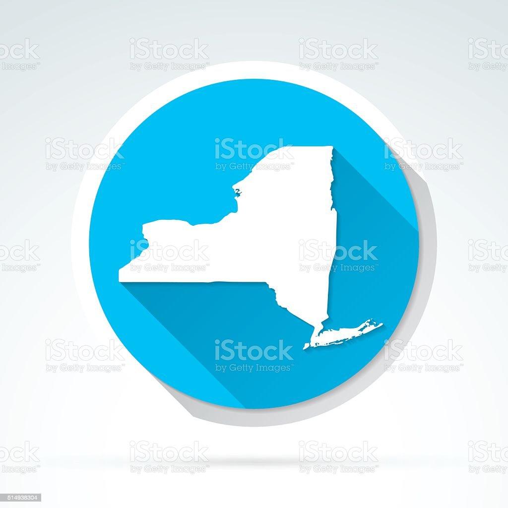 New York map icon, Flat Design, Long Shadow