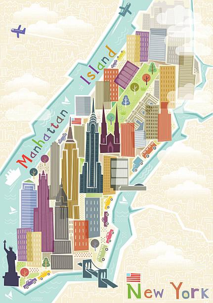 new york map illustration - new york map stock illustrations, clip art, cartoons, & icons