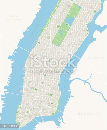 Highly detailed vector map of Lower and Mid Manhattan in New York