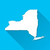 New York Map on Blue Background, Long Shadow, Flat Design