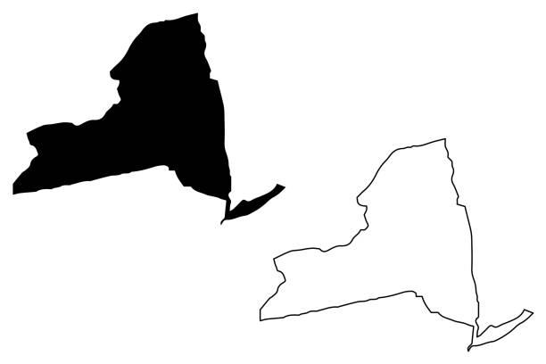 New York map vector New York map vector illustration, scribble sketch  New York map new york state stock illustrations