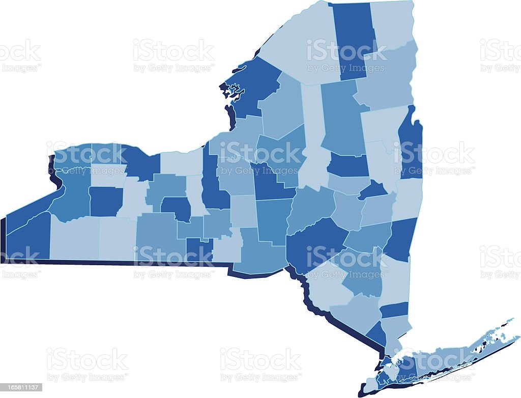 New York Map-Blue royalty-free stock vector art