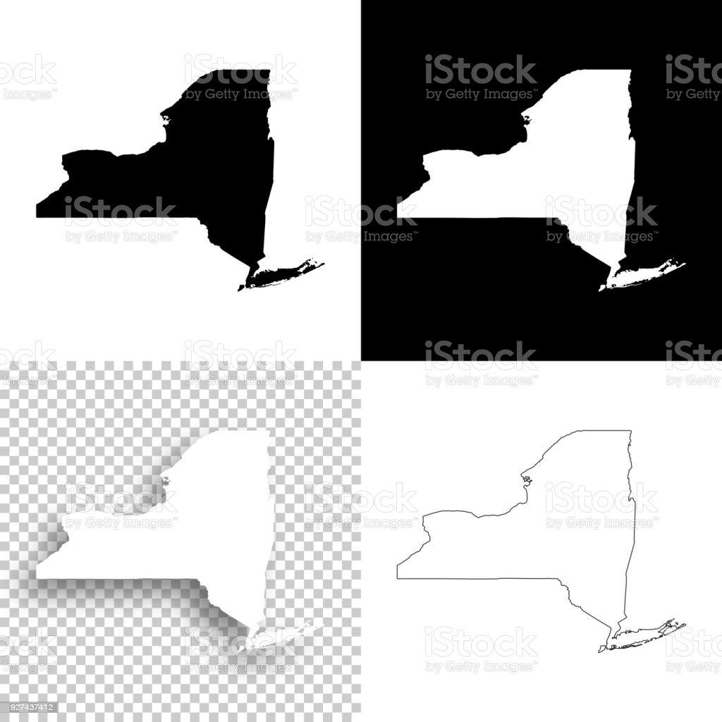 Cartes de New York pour la conception - Blank, fond blanc et noir - Illustration vectorielle