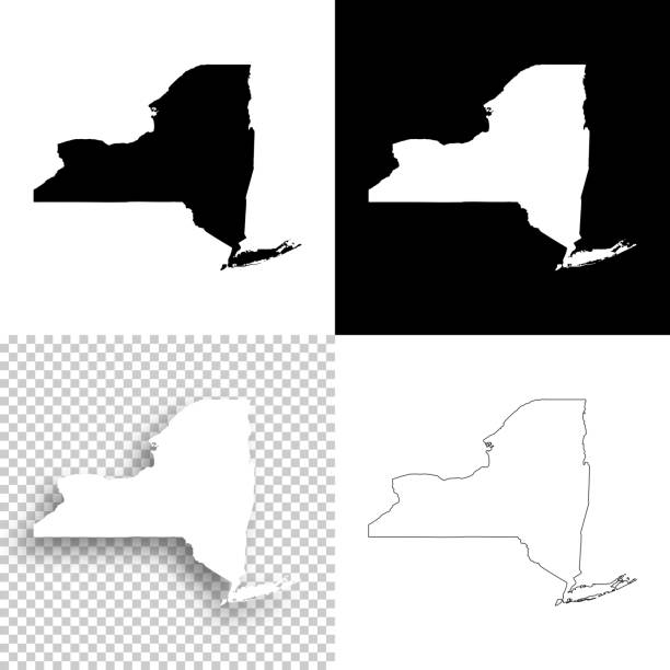 new york maps for design - blank, white and black backgrounds - new york map stock illustrations, clip art, cartoons, & icons