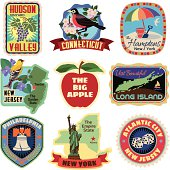 Vector New York metropolitan area travel stickers.