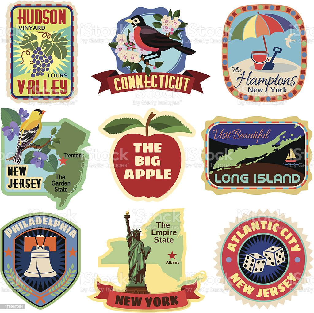 New York metropolitan area travel stickers vector art illustration
