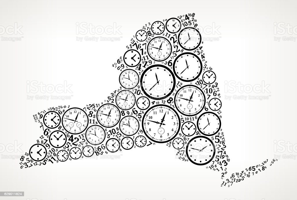 New York On Time And Clock Vector Icon Pattern Vektor Illustration ...