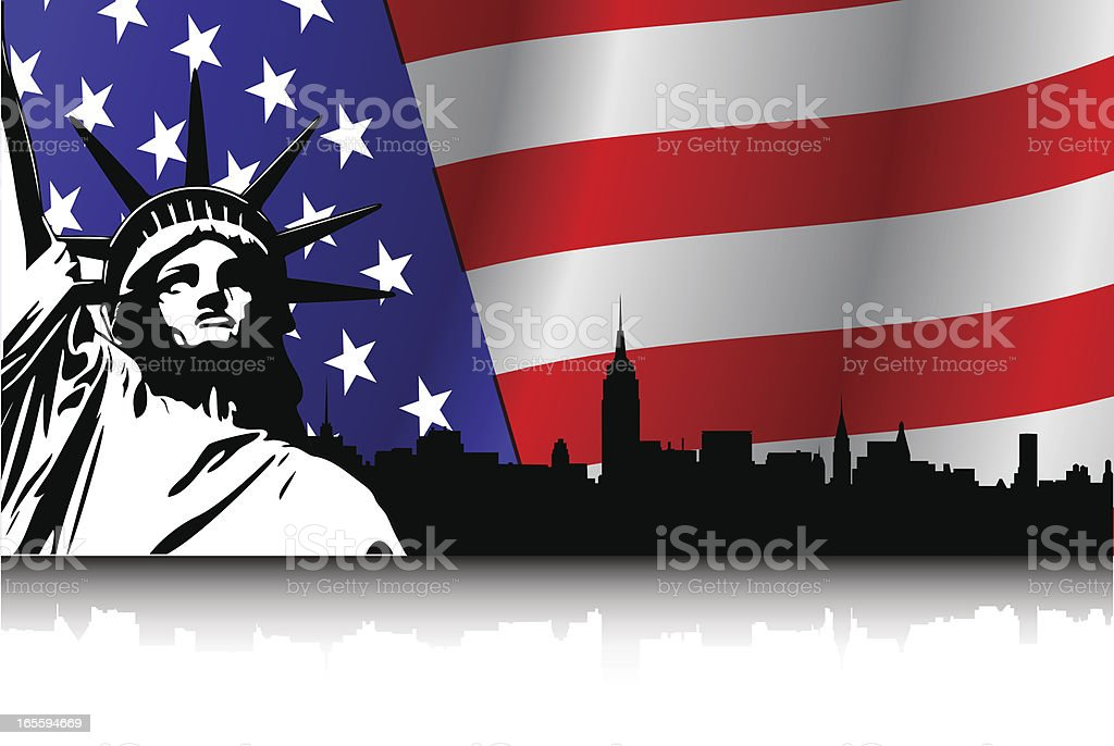 New York on USA Flag and Statue royalty-free new york on usa flag and statue stock vector art & more images of american flag