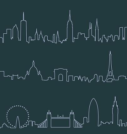 New York, Paris and London Profile Lines