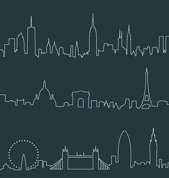 bildbanksillustrationer, clip art samt tecknat material och ikoner med new york, paris and london profile lines - paris