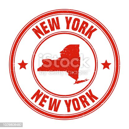 Map of New York on a red rubber stamp in vintage style. The stamp is composed of the map in the middle with the names around, separated by stars. A grunge texture is added to create a vintage and realistic effect. Vector Illustration (EPS10, well layered and grouped). Easy to edit, manipulate, resize or colorize.