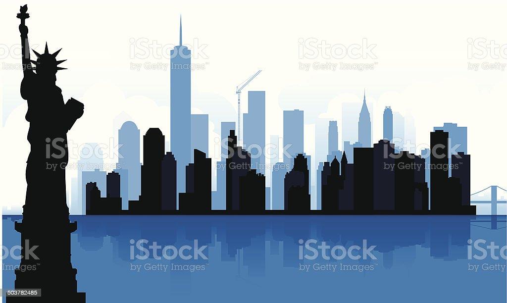 New York Silhouetted Skyline vector art illustration