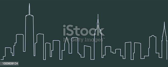 istock New York Single Line Skyline 1053639124