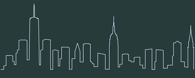 New York Single Line Skyline