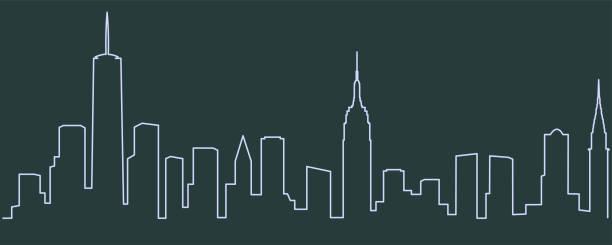 New York Single Line Skyline New York Single Line Skyline new york state stock illustrations