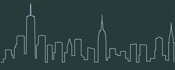 New York Single Line Skyline New York Single Line Skyline new york city stock illustrations