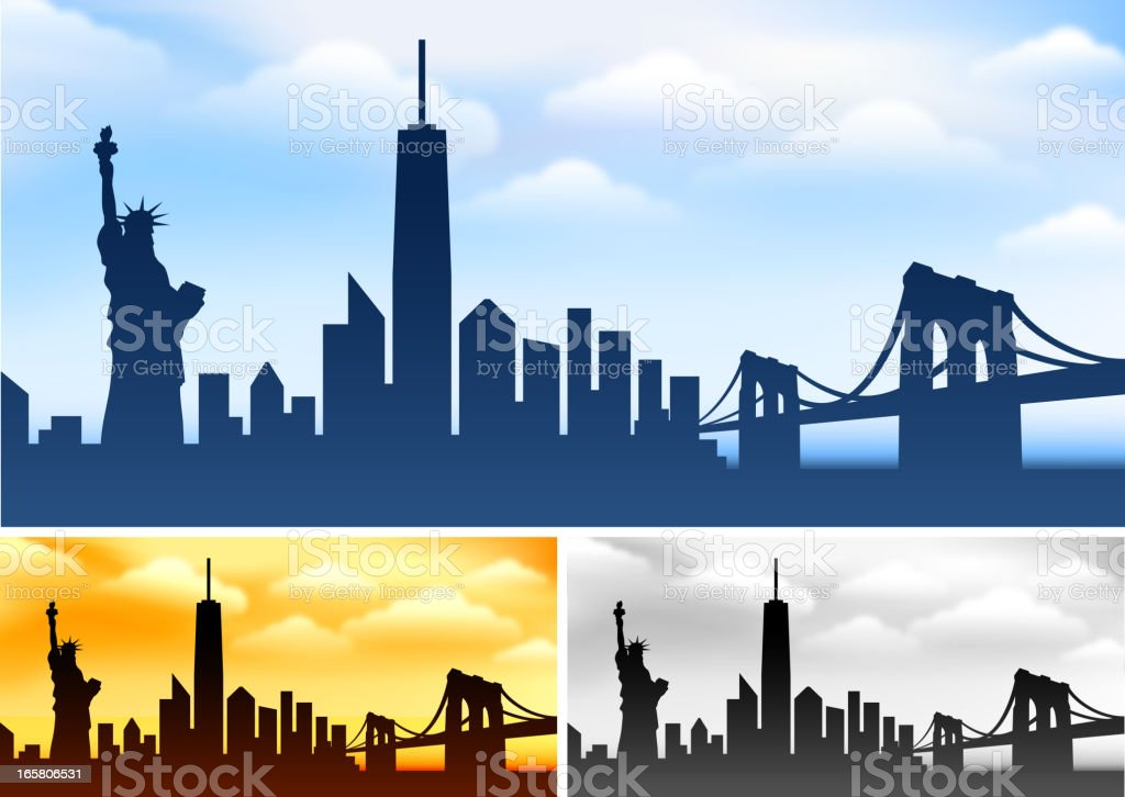 New York skyline panoramic Collection with Statue of Liberty vector art illustration