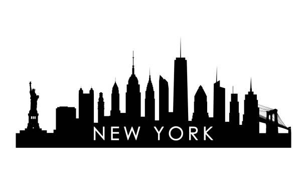 New York skyline silhouette. Black New York city design isolated on white background. New York skyline silhouette. Black New York city design isolated on white background. new york state stock illustrations
