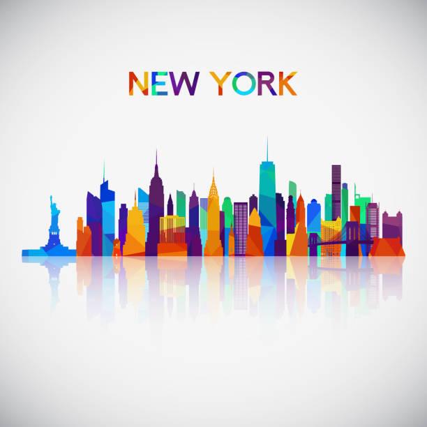 illustrations, cliparts, dessins animés et icônes de silhouette de skyline new york style géométriques colorés. symbole de votre conception. illustration vectorielle. - new york