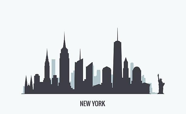 New York skyline silhouette Vector graphics, flat city illustration, eps 10 new york state stock illustrations