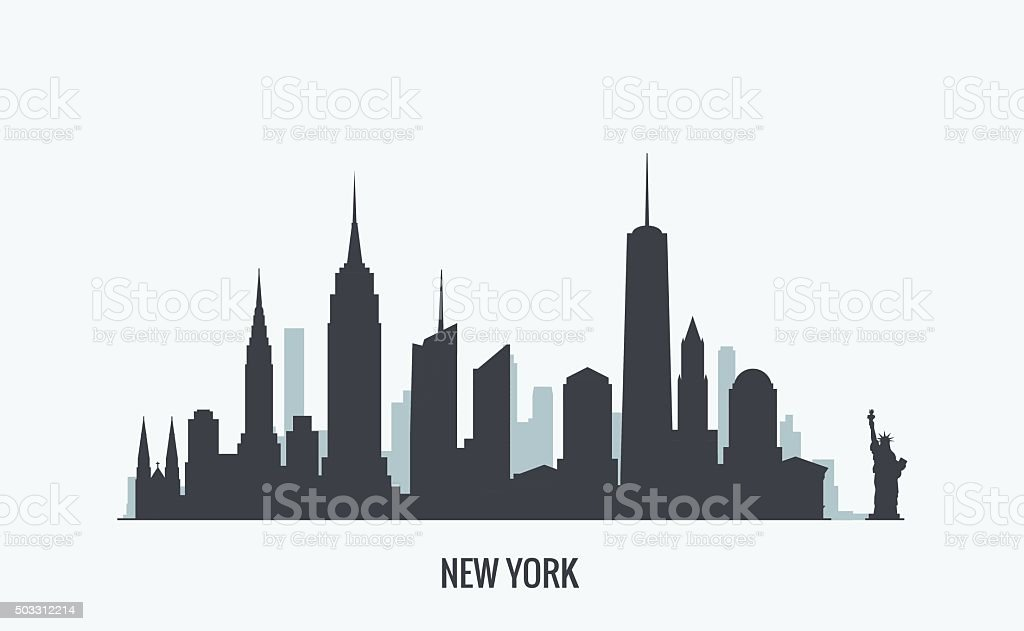 New York skyline silhouette vector art illustration