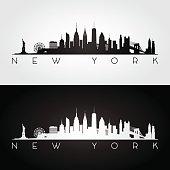 New York, USA skyline and landmarks silhouette.