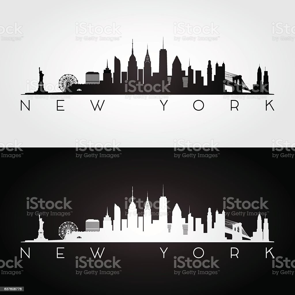 New York skyline silhouette. vector art illustration
