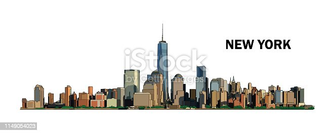 istock New York skyline, vector colorful illustration. High detailed creative drawing. Watercolor flat style. 1149054023