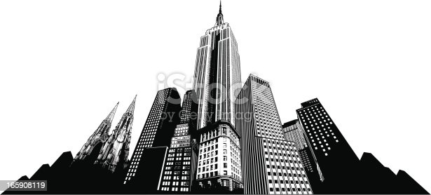 New York City skyline. Detailed Empire State Building, St Patrick Cathedral and other high buildings.