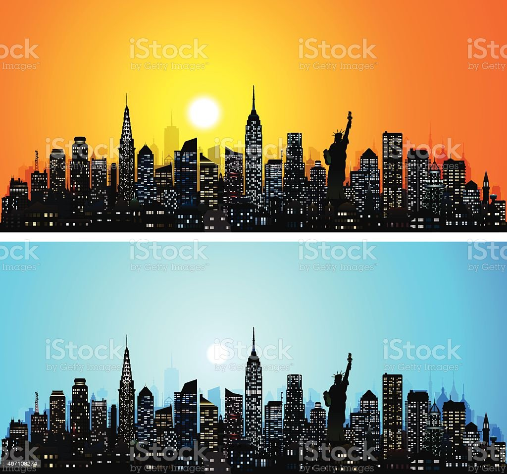 New York Skyline (Complete, Detailed, Moveable Buildings) vector art illustration