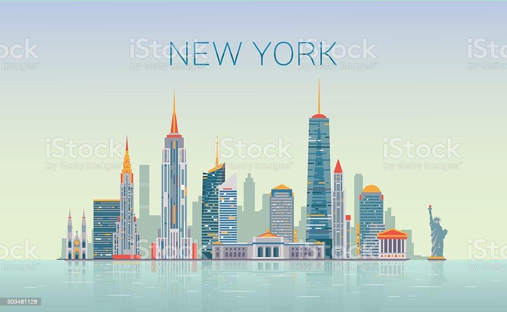 New York skyline vector art illustration