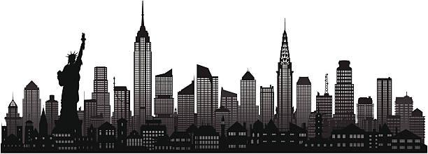 New York Skyline Complete Moveable Buildings Vector Art Illustration