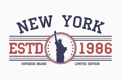 New York slogan t-shirt typography with liberty statue.