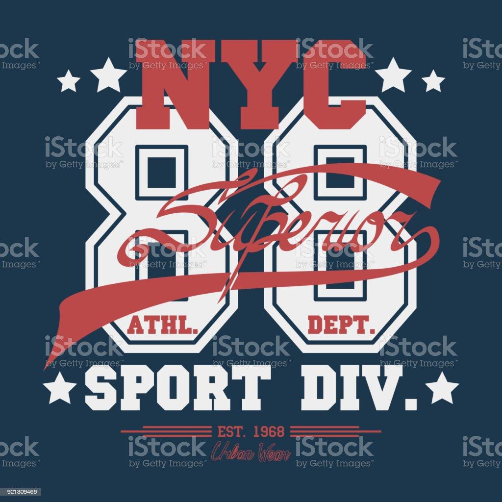 97d41c04 New York Sport wear typography emblem, t-shirt stamp graphics, vintage tee  print, athletic apparel design graphic print - vector - Illustration .