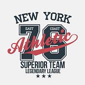 New York sportswear emblem. Athletic university apparel design with lettering. T-shirt graphics