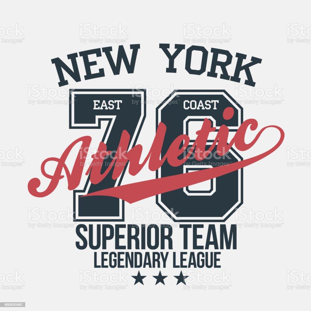 New York sportswear emblem. Athletic university apparel design with lettering. T-shirt graphics vector art illustration