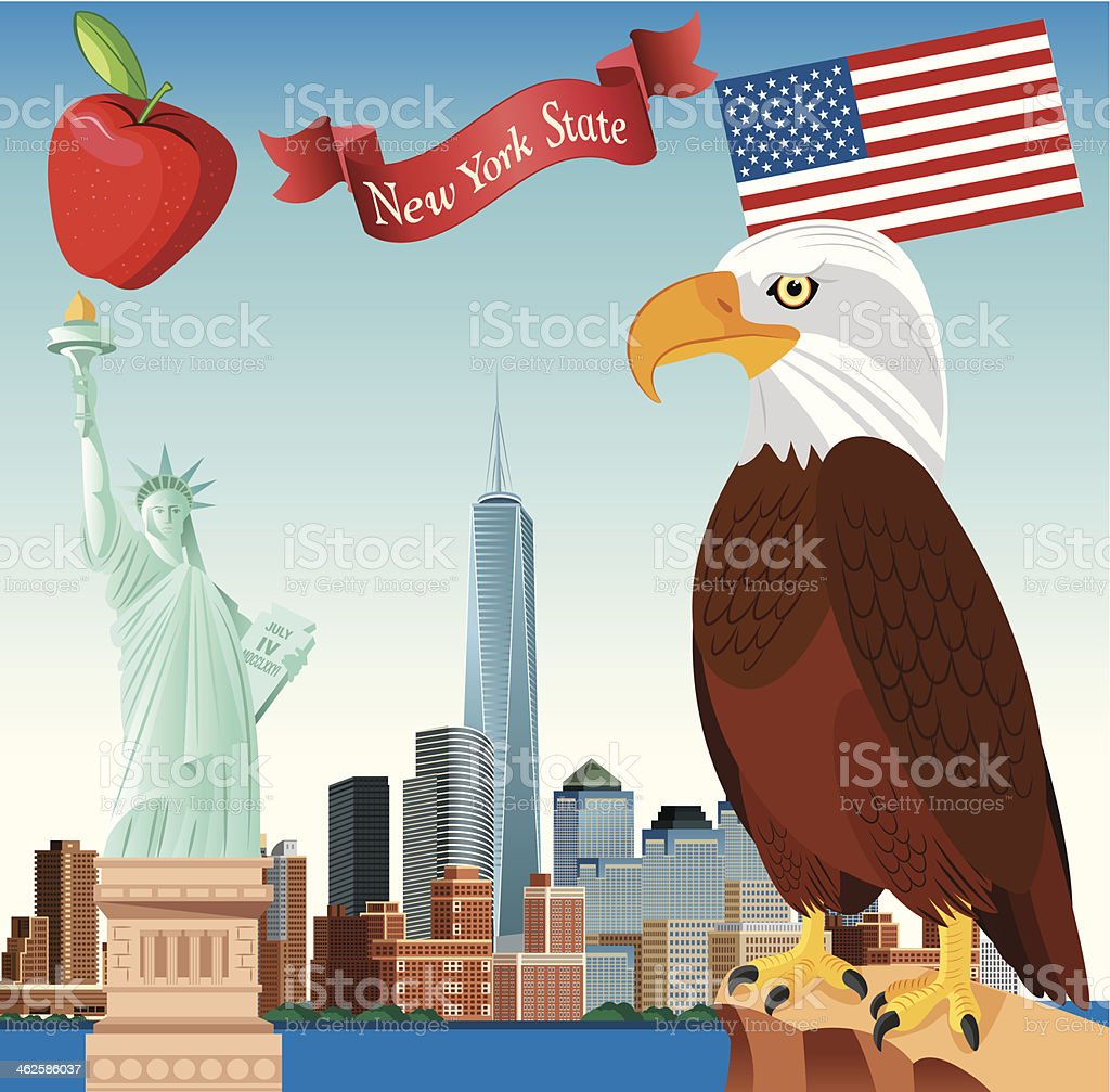 New York State and Bald eagle royalty-free stock vector art