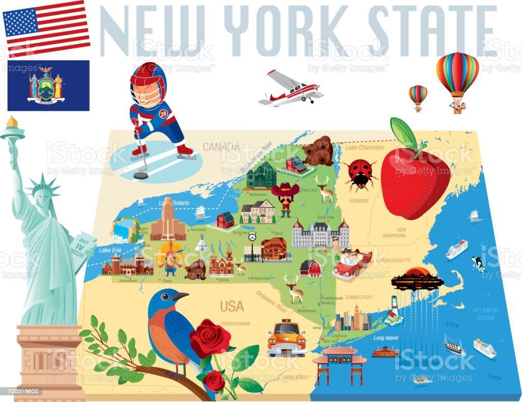 New York State Cartoon map vector art illustration