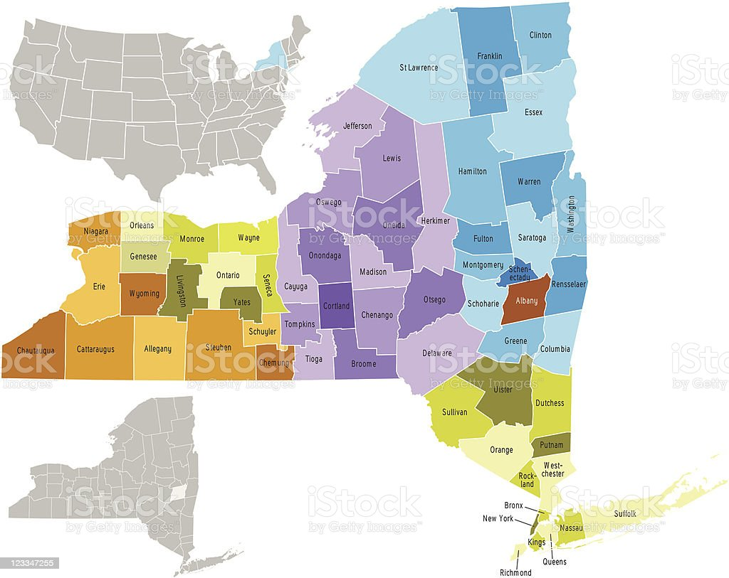 New York state counties vector art illustration