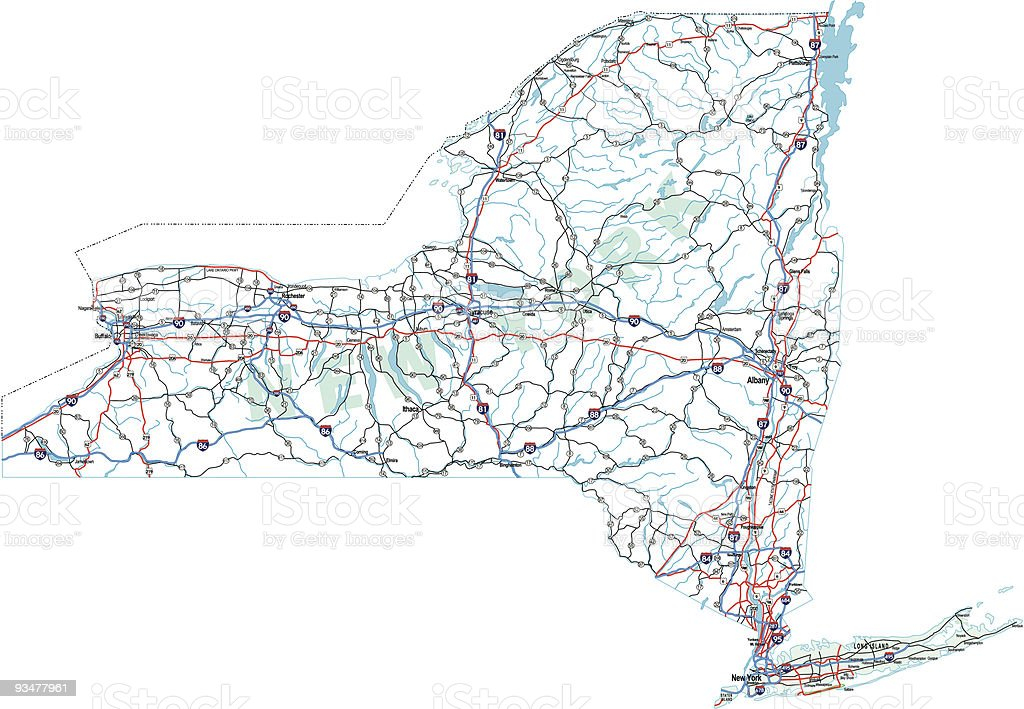 New York State Highway Map vector art illustration