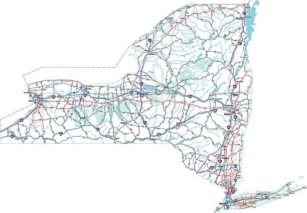 New York State Highway Map vector art illustration