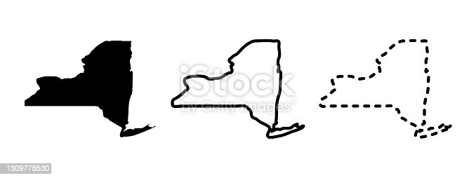 istock New York state isolated on a white background, USA map 1309778530