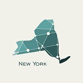 Image relative to USA travel. New York state map textured by lines and dots pattern