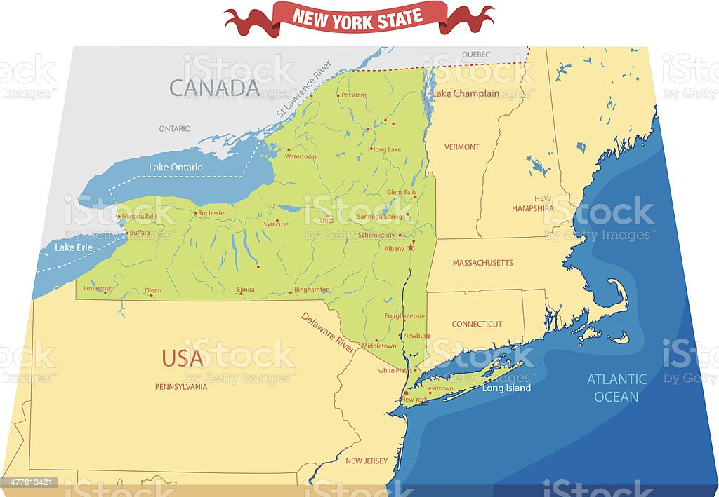 New York State Map Stock Illustration Download Image Now