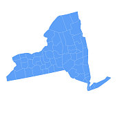 Vector illustration of the map of New York state with all its counties.