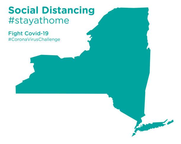 ソーシャルディタンシングステイアットホームタグ付きニューヨーク州地図 - corona newyork点のイラスト素材/クリップアート素材/マンガ素材/アイコン素材